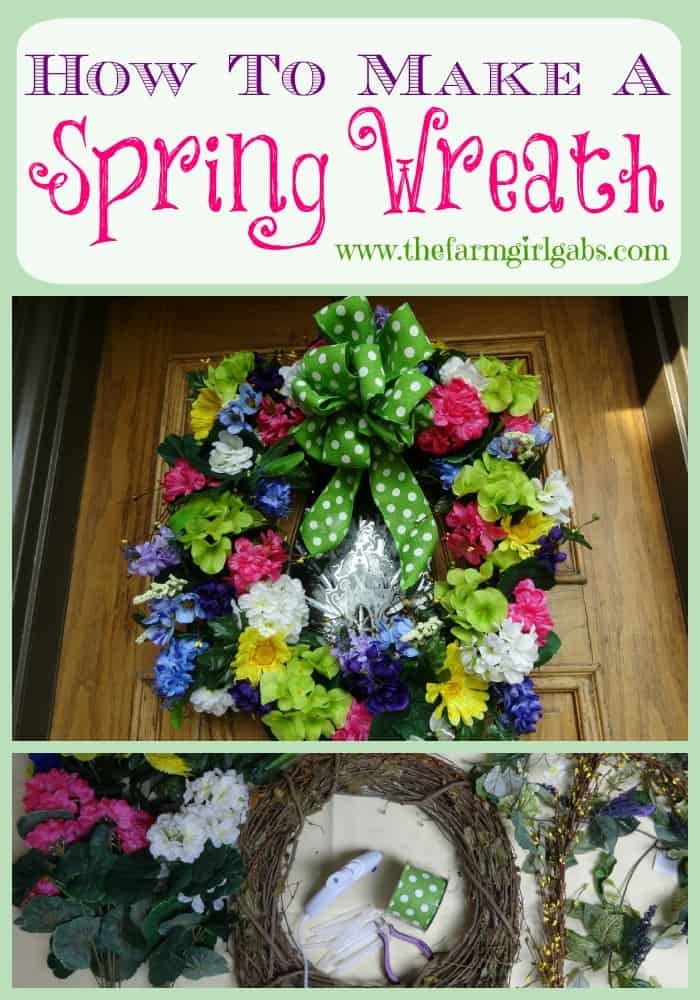 Simple steps to make a spring wreath for your front door.