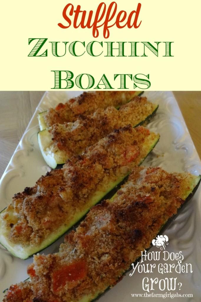 Stuffed Zucchini Boats from How Does Your Garden Grow? ~ www.thefarmgirlgabs.com