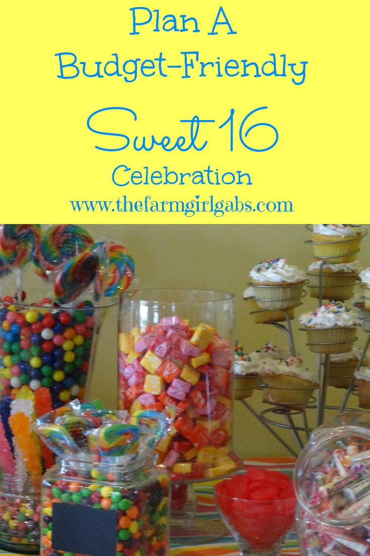 Great tips and ideas for planning a budget-friendly Sweet 16 party! Candy bar ideas, cupcake ideas, menu ideas, and how to keep it organized and fun!