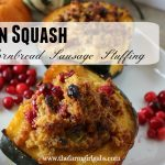 Acorn Squash with Cornbread Sausage Stuffing