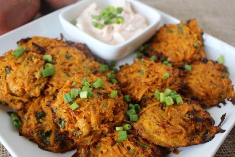 Baked Sweet Potato Fritters Www Thefarmgirlgabs Com