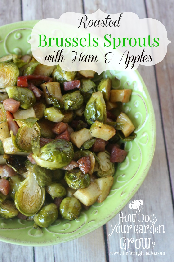 Roasted Brussels Sprouts with Ham and Apples is a quick and easy ...
