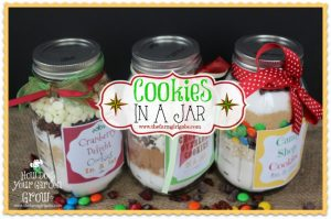 Three easy Cookie in a Jar Recipes - perfect gift ideas for Christmas, house warming, birthdays or any occasion.