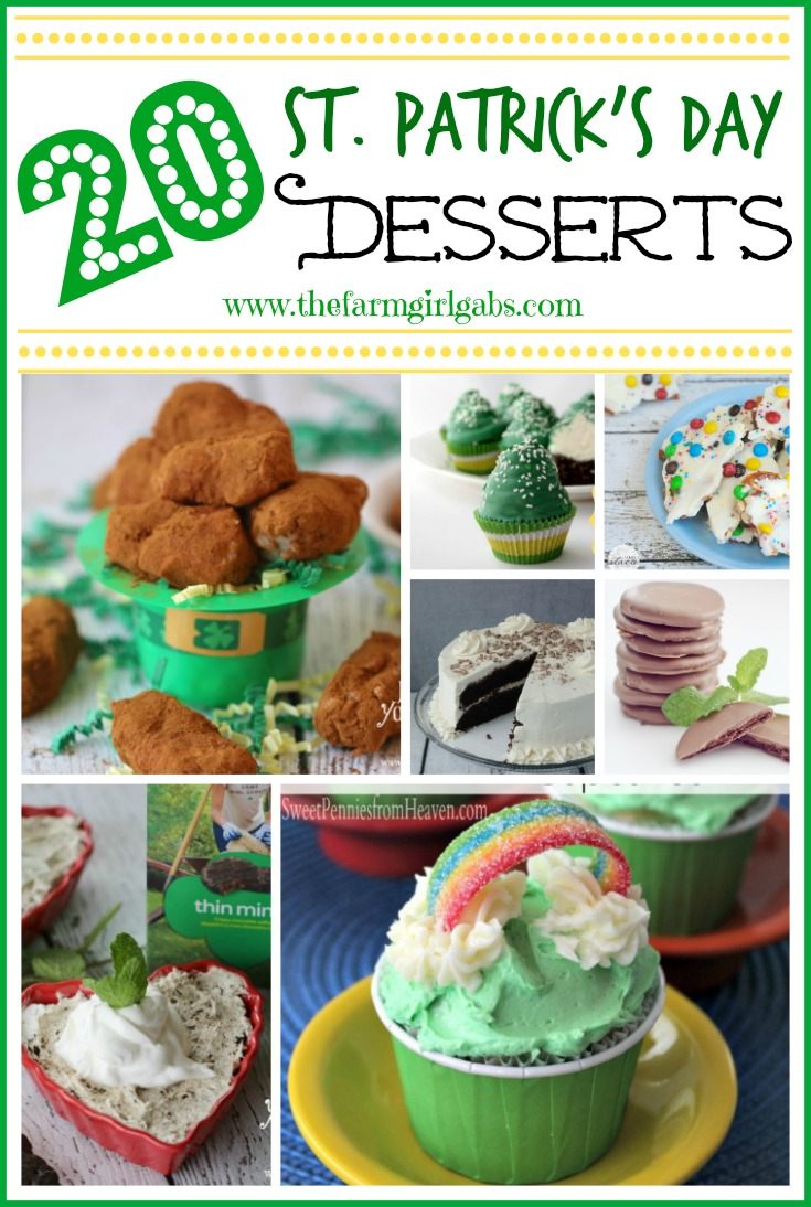 20 Fun St. Patrick's Day Desserts and treats perfect for adults and kids. Try one of these at your next St. Patrick's Day party.