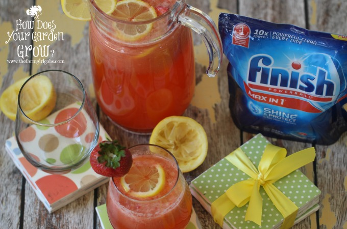 Finish® Max in One™ works hard to make glasses spotless. This fun DIY Coaster Project and Refreshing Strawberry Lemonade are a perfect for your next party. #Ad #ShowMeTheShine