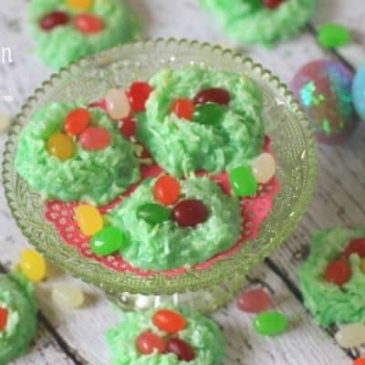 Easter Egg Coconut Nests - These light and fluffy macaroons are filled with colorful jelly beans. These easy cookies are an adorable Easter and spring recipe. Looking for an Easter activity that kids will enjoy assembling and eating? Try these sweet birds nest cookies. They're a snap to make and call for just a few ingredients.