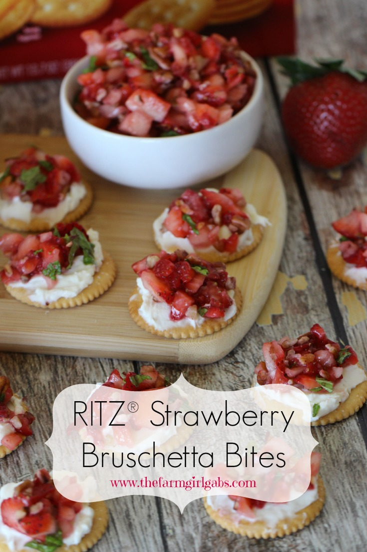 RITZ® Strawberry Bruschetta Bites are an easy and perfect snack to make for family and friends. This recipe with be a hit! #Ad #PutItOnARitz