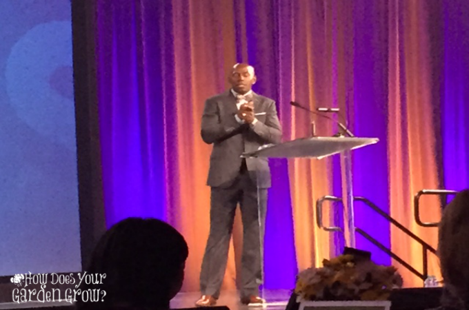 Donald Driver, former NFL Wide Receiver, addresses attendees of the 2015 Disney Social Media Moms Celebration.