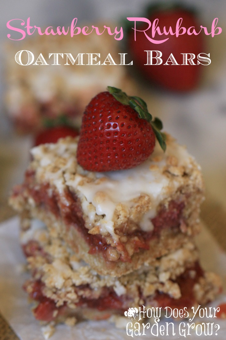 Strawberries and rhubarb are the perfect combination. This Strawberry Rhubarb Oatmeal Bar recipe is easy and delicious! It's a perfect spring dessert.