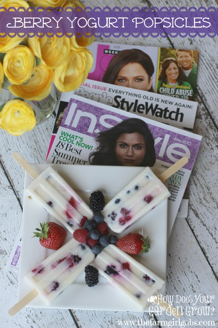 "#AD I love to celebrate ""me time"" by catching up with my favorite magazines like  PEOPLE StyleWatch®, InStyle®, and Us Weekly® while enjoying these delicious Berry Yogurt Popsicles. This popsicle recipe is packed with berries and so easy to make. #pmedia #summer4me"