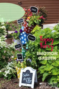[Ad] Make this Inside Out Topsy Turvy Emotion Garden with your kids. It's a garden project to teach them about emotions. #InsideOutEmotions