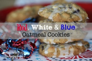 Red, White and Blue Oatmeal Cookies