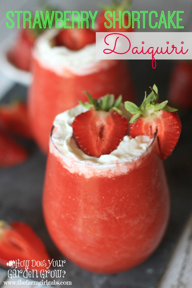 This refreshing Strawberry Shortcake Daiquiri is made with Jersey Fresh Strawberries. It's the perfect summer slushy cocktail to make for your next party.