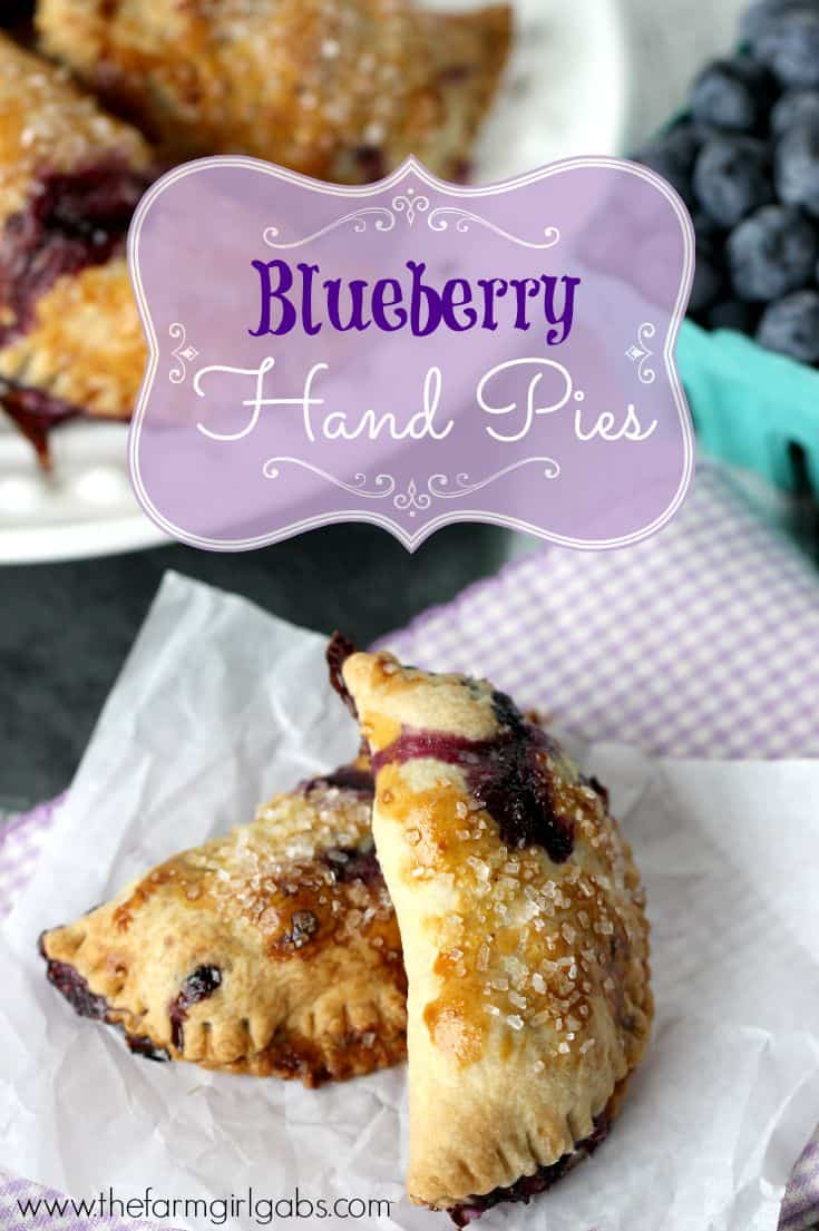Blueberry Hand Pies are a delicious mini-pie dessert made with fresh blueberries. This easy recipe is the perfect snack.   www.thefarmgirlgabs.com