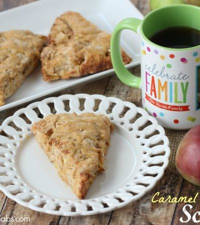 Caramel Apple Pie Scones are the perfect fall breakfast treat, made with fresh apples and topped with sweet caramel glaze.