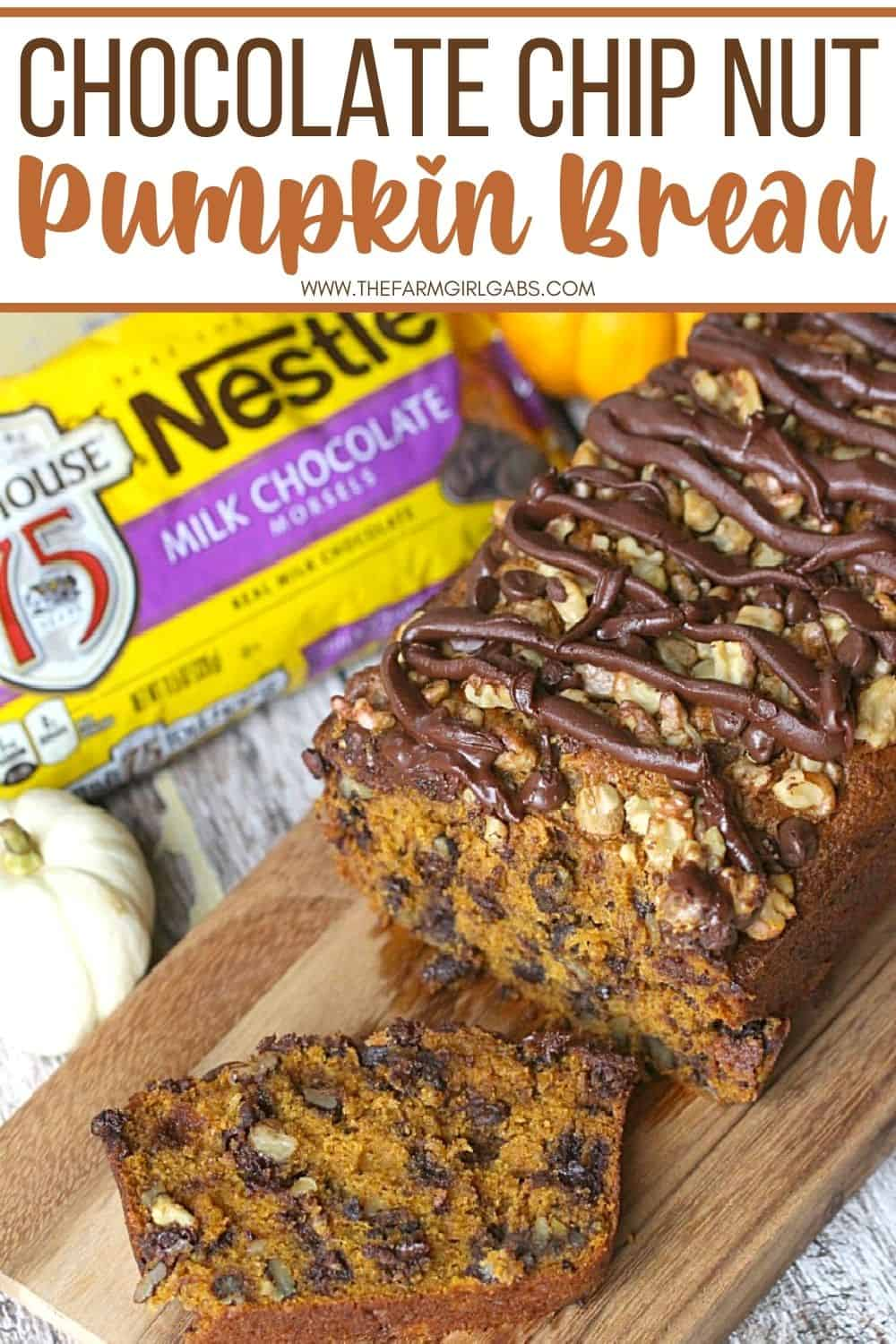 This easy Chocolate Chip Pumpkin Nut Bread recipe is perfect for fall. This quick pumpkin bread is moist, delicious and loaded with chocolate chips and nuts. You family will love how delicious this easy pumpkin quick bread recipe is.