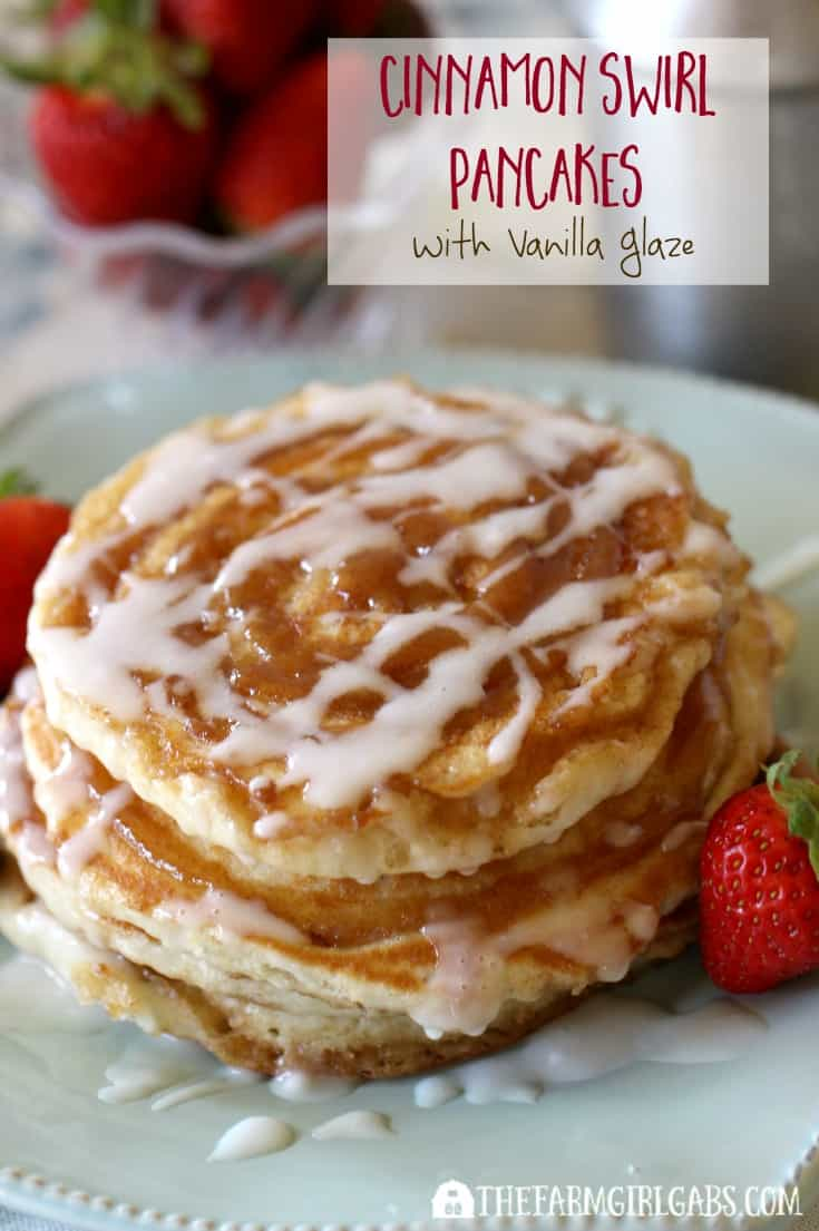 Love cinnamon rolls, then these Cinnamon Swirl Pancakes are for you. Buttermilk pancakes are swirled with cinnamon and sugar and then topped with a vanilla glaze. This breakfast recipe will warm you up on a crisp fall or winter night.