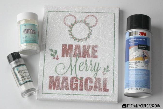 Disney Holiday Glitter Art Step 2