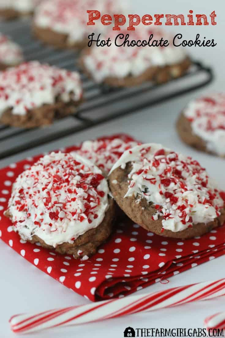 Peppermint Hot Chocolate Cookies have the right amount of chocolate and the perfect amount of crisp peppermint. Perfect to enjoy at Christmas or all winter-long.