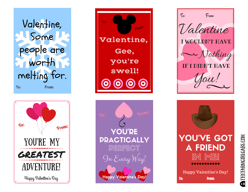 Free Printable Disney-Inspired Valentines | The Farm Girl Gabs®