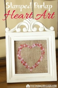 Celebrate the season of love by making this Stamped Burlap Heart Art. This is an easy craft for young and old. It's perfect for Valentine's Day.