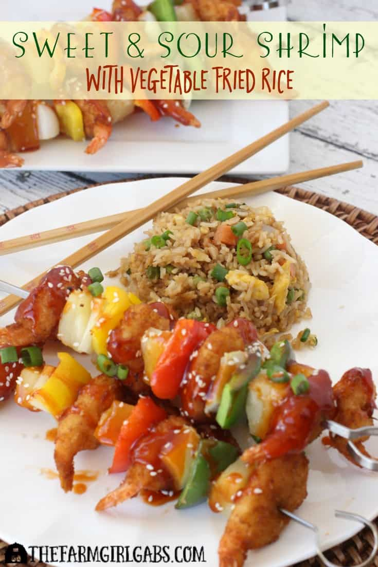 Sweet And Sour Shrimp Skewers With Vegetable Fried Rice is a quick and easy meal option. It's perfect for a weeknight dinner. Ad #ShrimpItUp