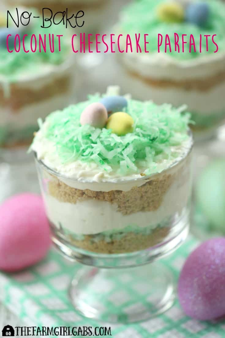 These colorful Coconut Cheesecake Parfaits are a colorful way to welcome the spring season. They are a perfect dessert recipe for your Easter menu too! #recipe #desserts #nobakedesserts #EasterRecipes