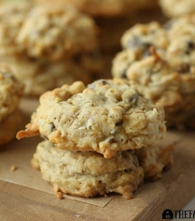 Coconut Oatmeal Crunch Cookies have plenty of coconut, oatmeal, chocolate chips, and lots of Honey Buncher of Oats crunch. AD #CerealAnytime