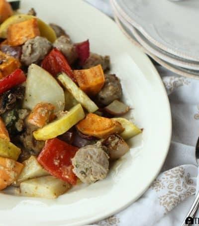 Dijon Grilled Turkey Bratwurst And Vegetables