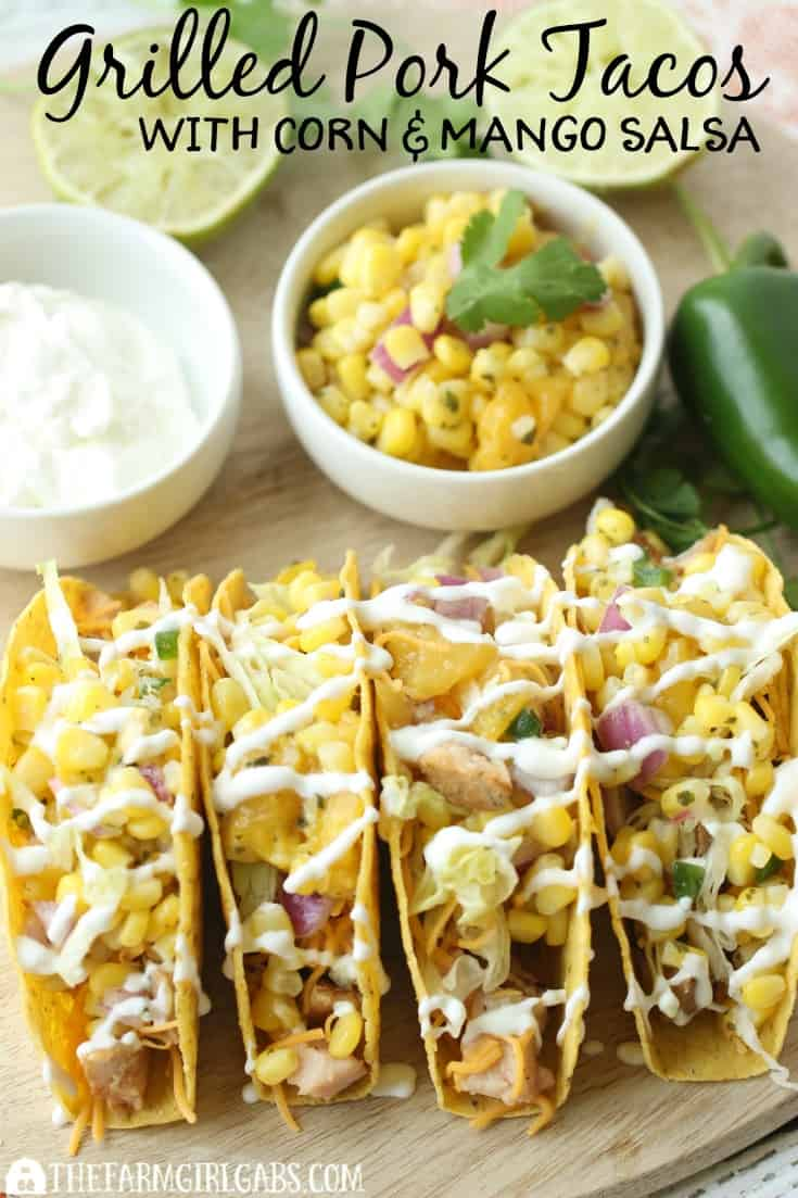 Need a quick 30-minute meal idea? Try these Grilled Pork Tacos With Corn & Mango Salsa! AD #RealFlavorRealFast
