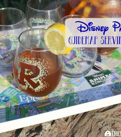 Have some extra Disney Parks Guidemaps from your visit to Walt Disney World? Serve up some fun memories (and some drinks) with this Easy Disney Parks Guidemap Serving Tray.