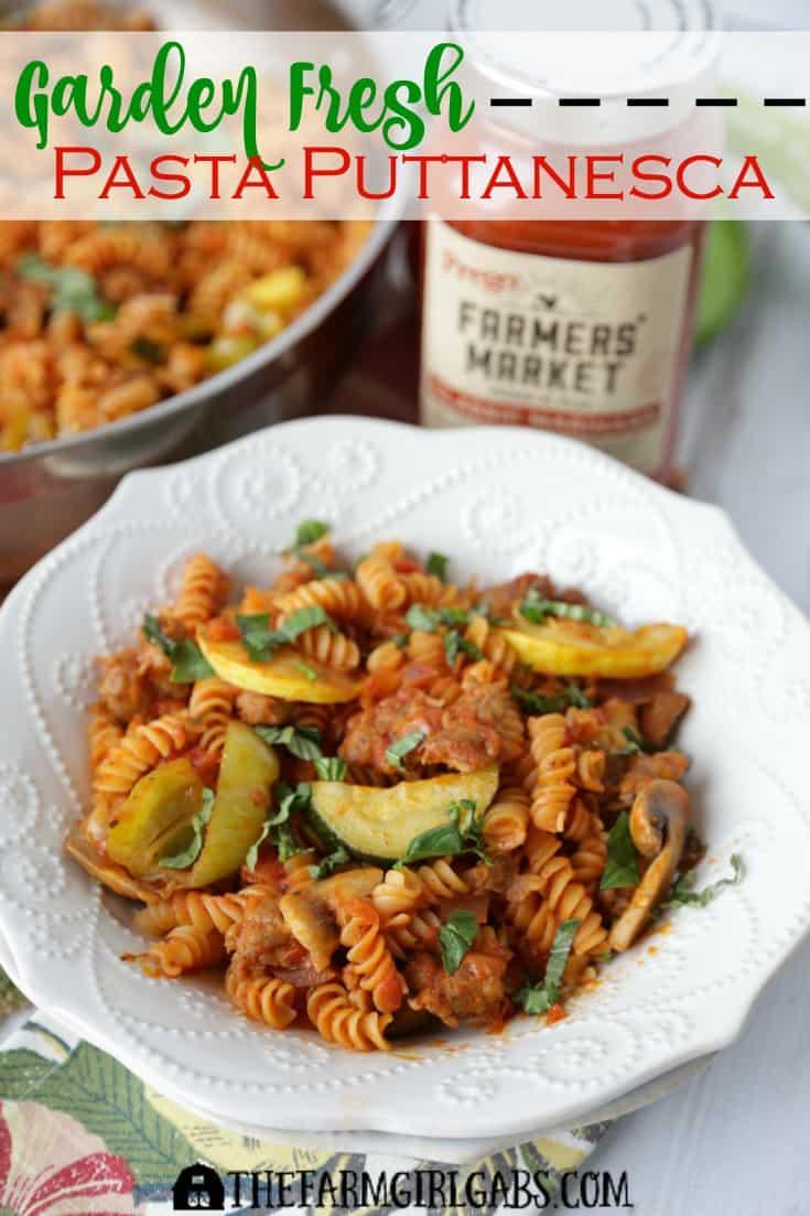 This Garden Fresh Pasta Puttanesca has plenty of spicy zip. Fresh garden vegetables and spicy sausage star in this one-pot recipe. AD #PickedAtPeak