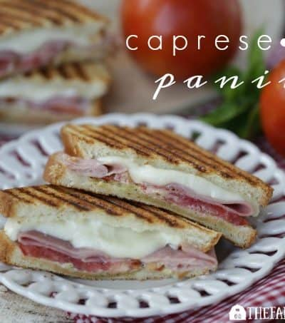 This Caprese Ham Panini scores big points! Tomatoes, mozzarella, ham and a basil spread are sandwiched between two slices of Pepperidge Farm bread and grilled to perfection. #SandwichWithTheBest www.thefarmgirlgabs.com