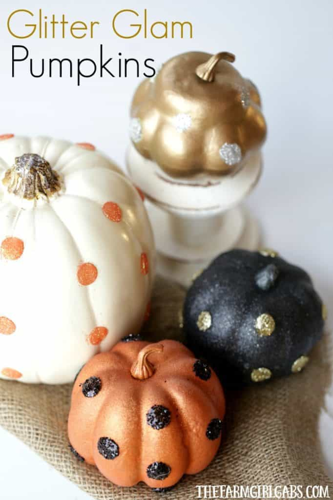 These easy DIY Glitter Glam Pumpkins are a perfect way to add some bling to your fall decor. This easy craft can be customized any way you like. #pumpkincraft #pumpkins #fallcraft #fallDIY #homedecor #halloween #halloweencraft #farmhousestyle