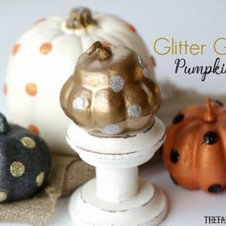 These easy DIY Glitter Glam Pumpkins are a perfect way to add some bling to your fall decor. This easy craft can be customized any way you like.