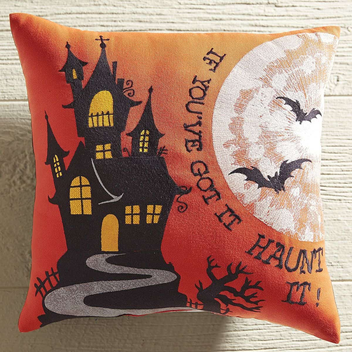 Haunted House Embroidered Pillow