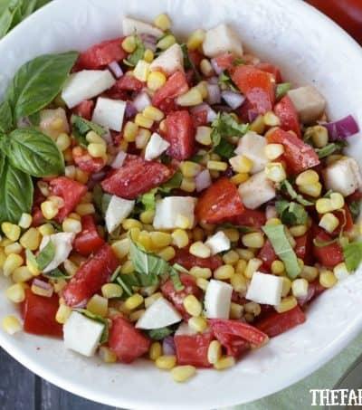 Tomato Corn And Basil Salad