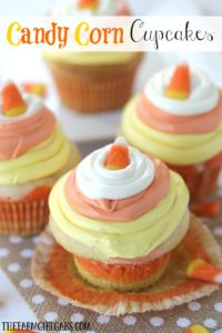 These colorful and delicious Candy Corn Cupcakes are the perfect fall treats. They are easy to make cupcake treats that are perfect for snack-time, lunch-time, anytime! This simple dessert recipe is made from doctored up cake mix!