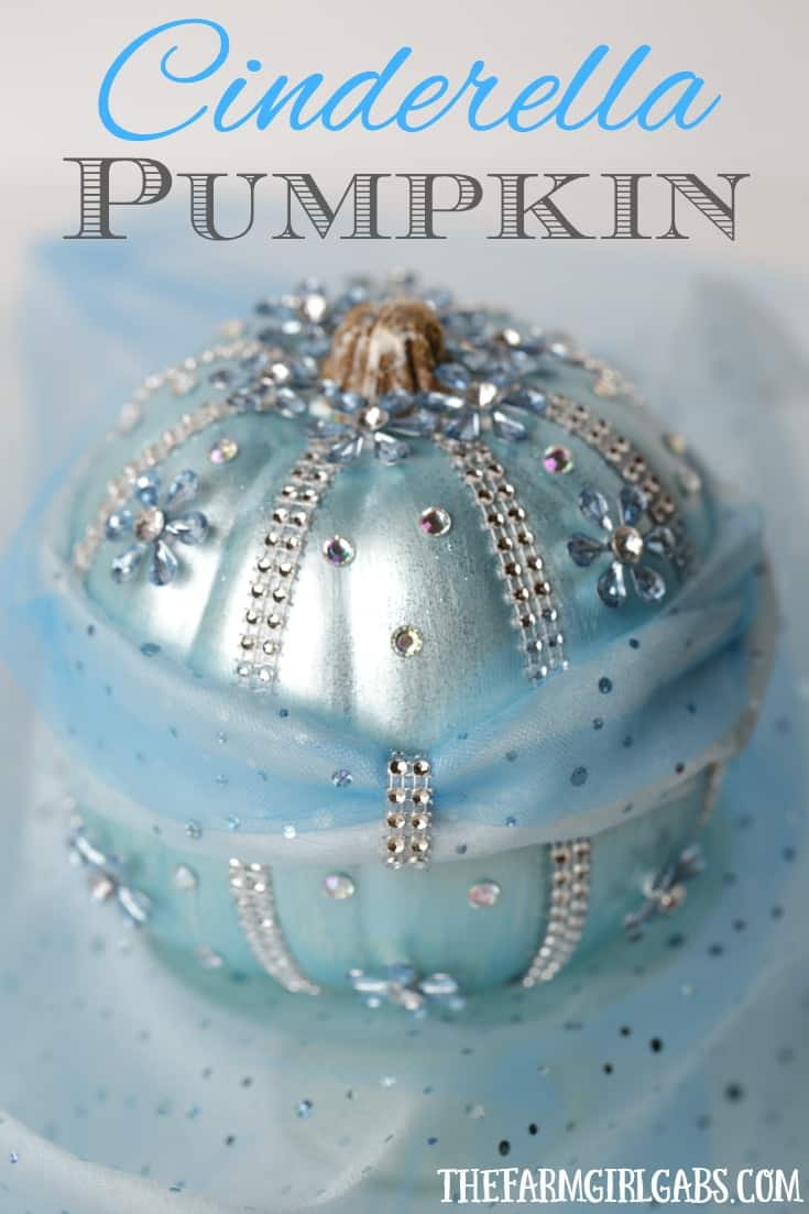 Your little princess will love making this beautiful DIY Disney Cinderella Pumpkin for Halloween. This no-carve pumpkin craft is bedazzled with gems, tulle and metallic blue paint to match Cinderella's elegant gown.