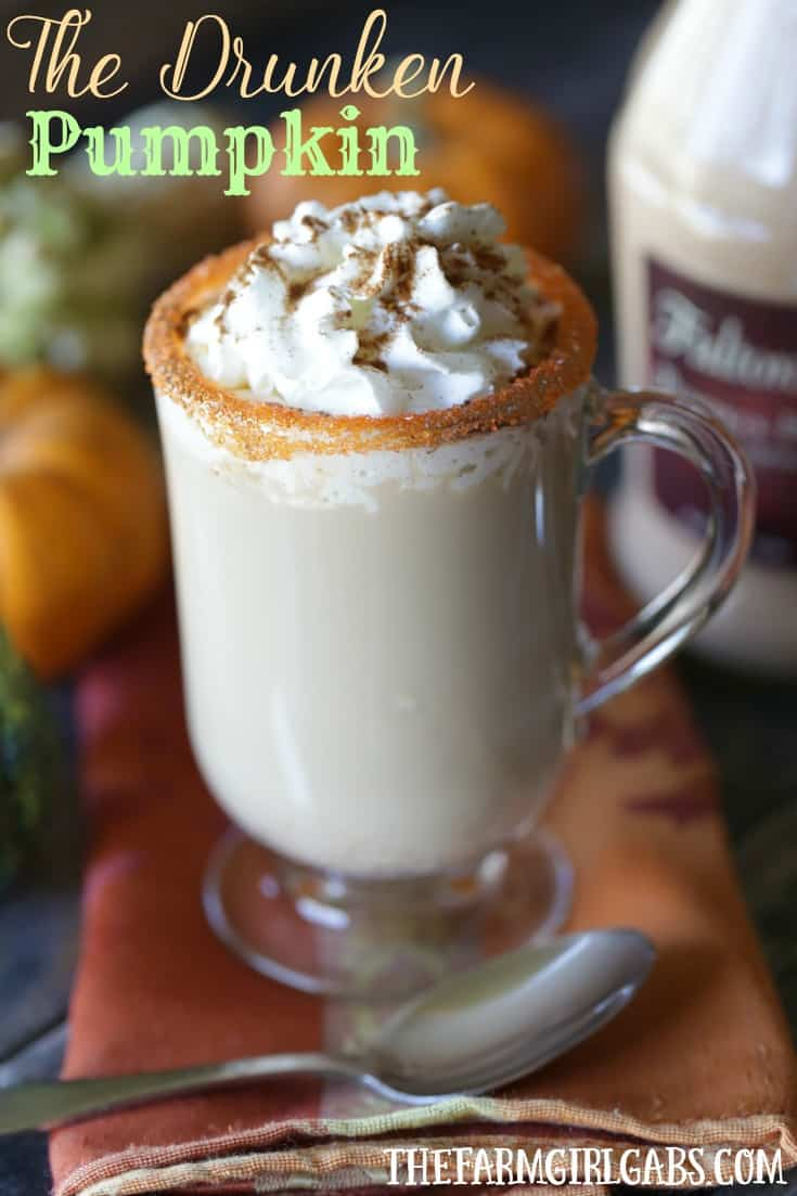 twenty super delicious hot drinks to warm you up during fall or winter! Raise a mug to this delicious Drunken Pumpkin Spice Latte. This simple spiked coffee recipe is the perfect adult fall drink.