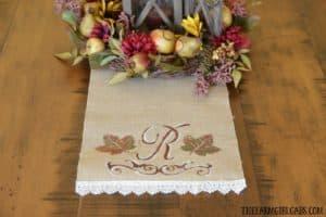 DIY Monogrammed Fall Table Runner