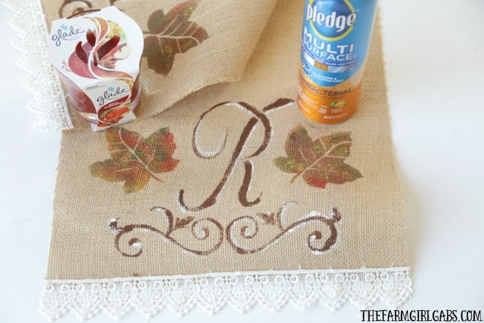 Dress up your Thanksgiving table with this easy DIY Monogrammed Table Runner.