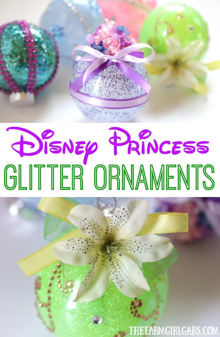 These DIY Disney Princess Glitter Ornaments are perfect for the Disney fan. This easy holiday craft will look perfect hanging on the Christmas tree.