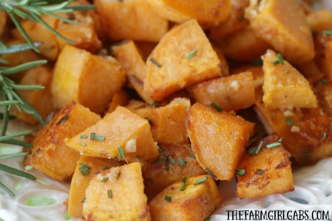 Rosemary Parmesan Sweet Potatoes are tossed in fresh rosemary and parmesan then roasted to perfection!