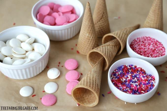 I scream, you scream we all scream for an ice cream cone made with these fun Dipped Ice Cream Cones!