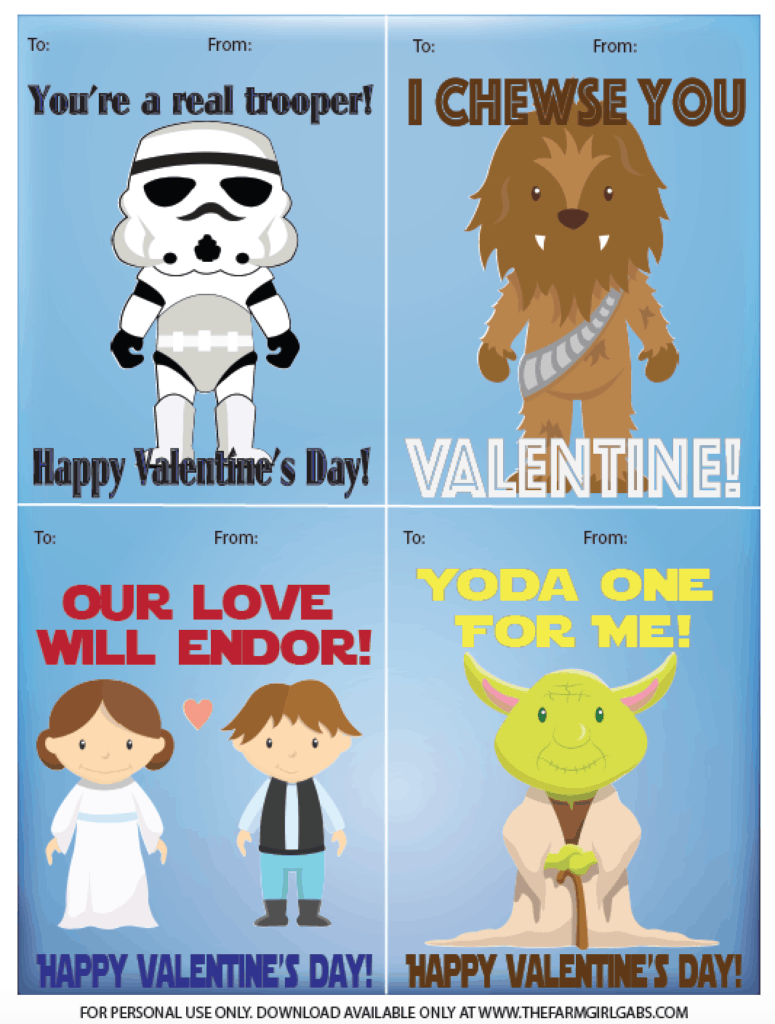 Calling all Star Wars fans! Spread some love over the galaxy this Valentine's Day. Print these Free printable Star Wars Classroom Valentine Cards.
