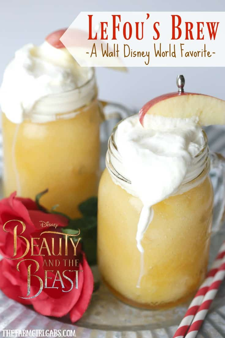 LeFou's Brew is a slushy apple drink popular at Walt Disney World! This deliciously refreshing drink recipe is inspired by the upcoming Beauty And The Beast movie. Now you can make your own LeFou's Brew at home with this simple recipe. #disneyrecipe #lefousbrew #drinkrecipe #disneyworld #disneysnack