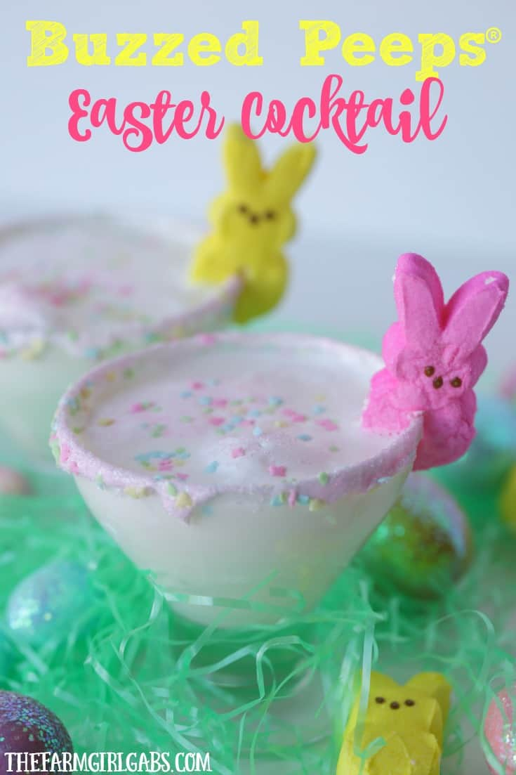 "As you hang with your ""peeps"" this Easter holiday, serve up a Buzzed Peeps Easter Cocktail and toast all the good things. #easterrecipe #Peeps #DrinkRecipe"