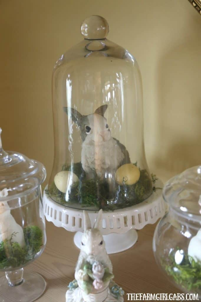 Celebrate spring and create this adorable (and easy) DIY Spring Bunny Jar Display. #SpringDecor #EasterDecoration