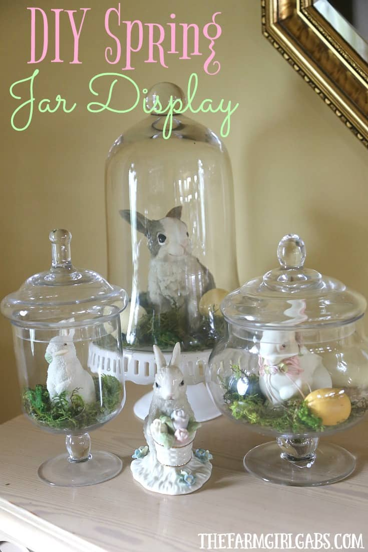 Celebrate spring and create this adorable (and easy) DIY Spring Bunny Jar Display